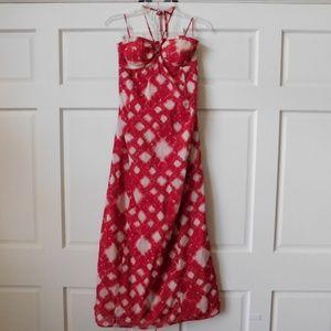 LC Lauren Conrad Sz 2 Red Ivory Halter Boho Dress